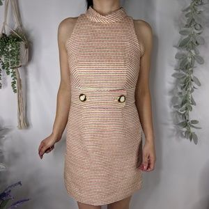 MILLY NEWYORK tweed backless mod cocktail dress122